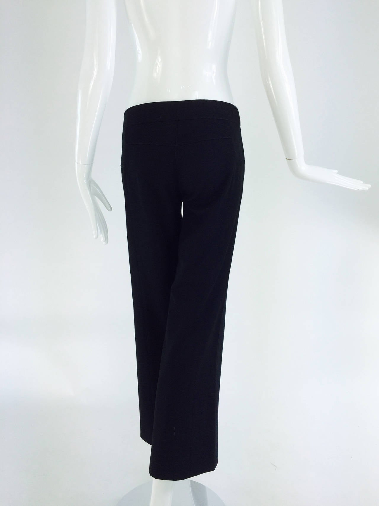 Chanel black wide leg cropped wool twill trouser 2008 6