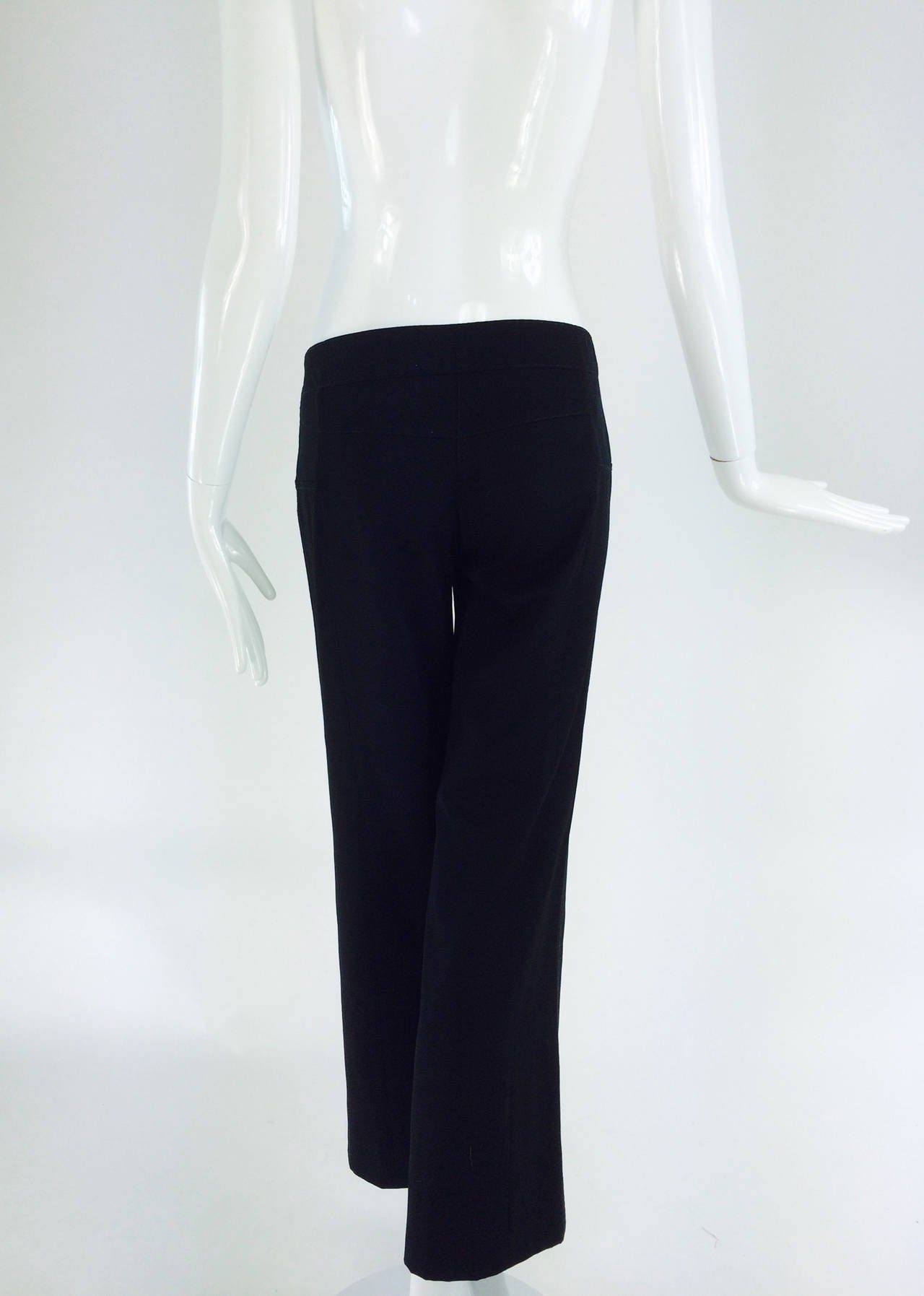 Chanel black wide leg cropped wool twill trouser 2008 5