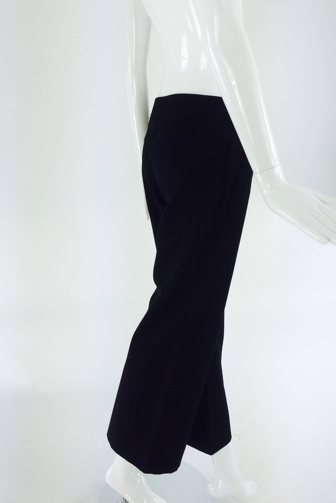 Chanel black wide leg cropped wool twill trouser 2008 4