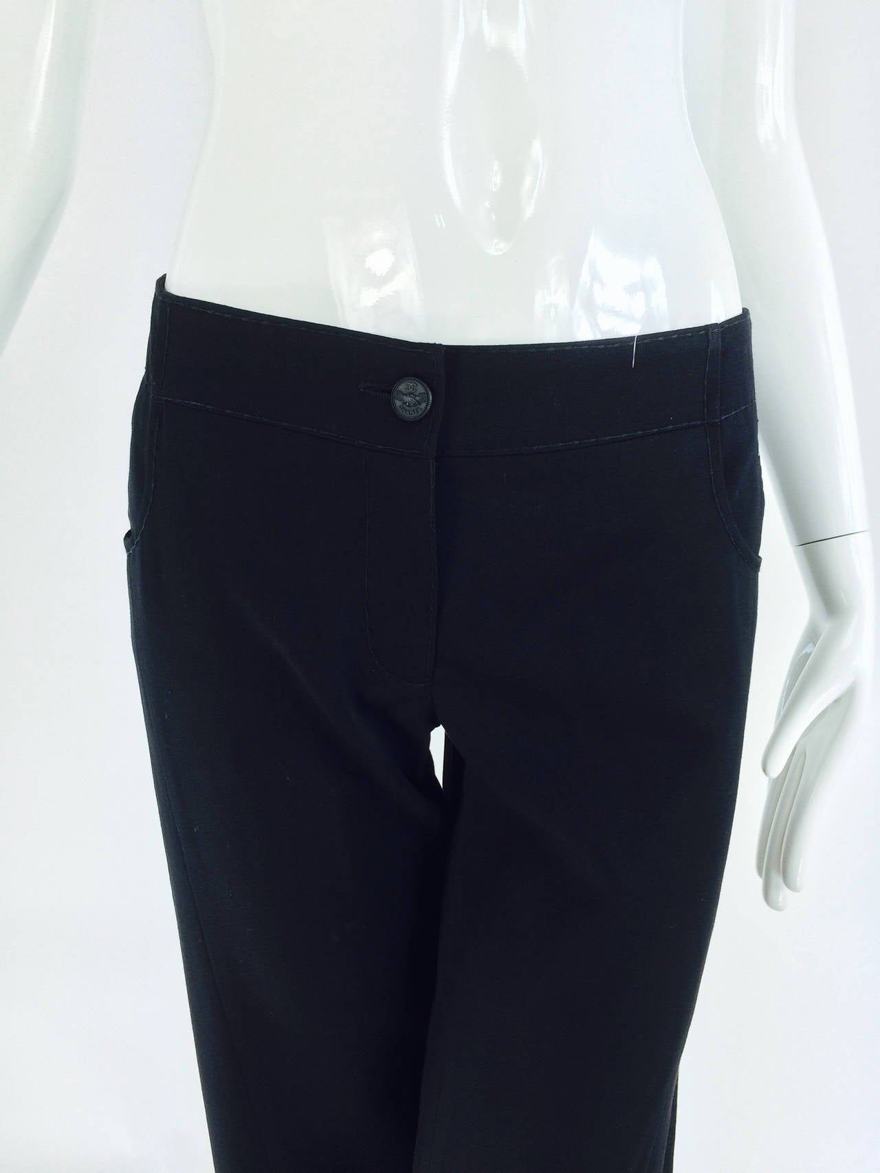 Chanel black wide leg cropped wool twill trouser 2008 2