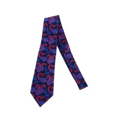 Turnbull & Asser navy blue & red paisley silk twill tie