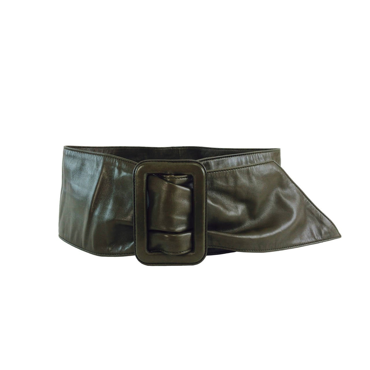 Prada buttery soft wide leather contour belt 36 For Sale at 1stdibs
