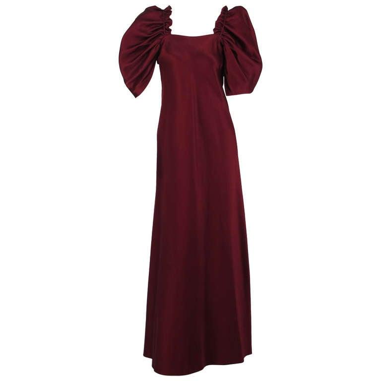 1960s Stavropoulos garnet silk renaissance inspired evening gown