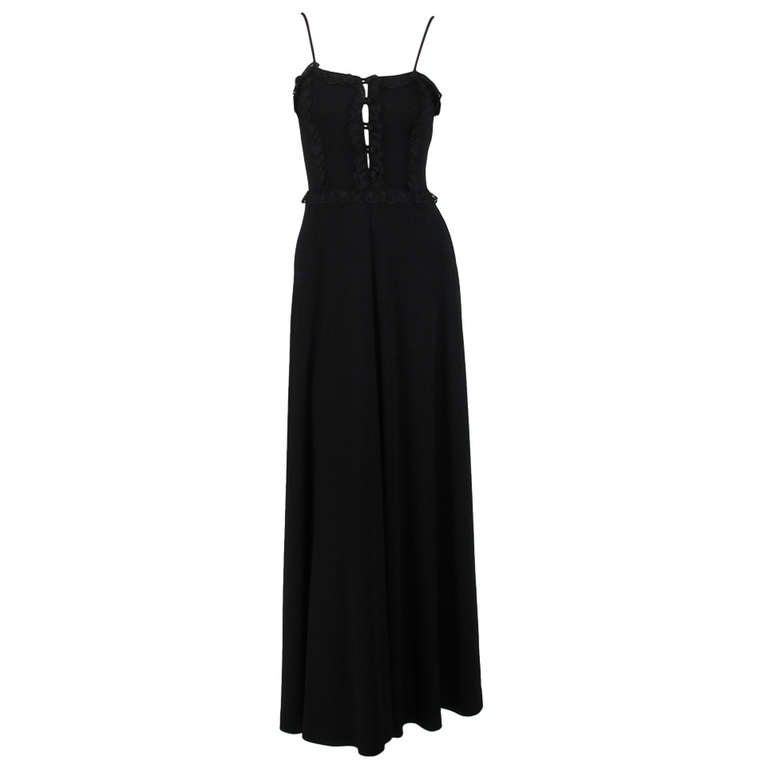 1970s Clovis Ruffin Ruffinwear black jersey camisole bodice maxi dress