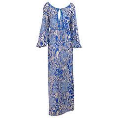 1960s Pucci blue & white silk jersey maxi dress