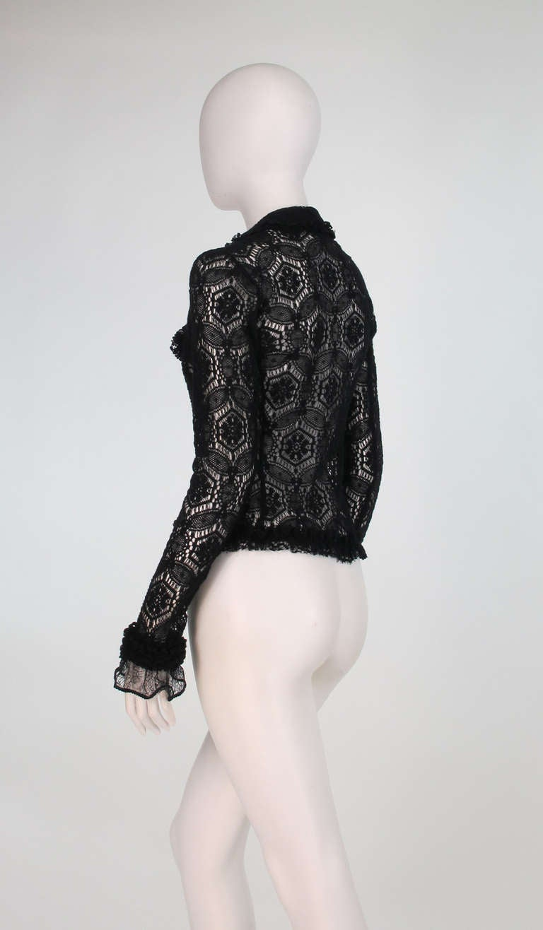 Women's 04A Chanel black lacy wool sweater For Sale