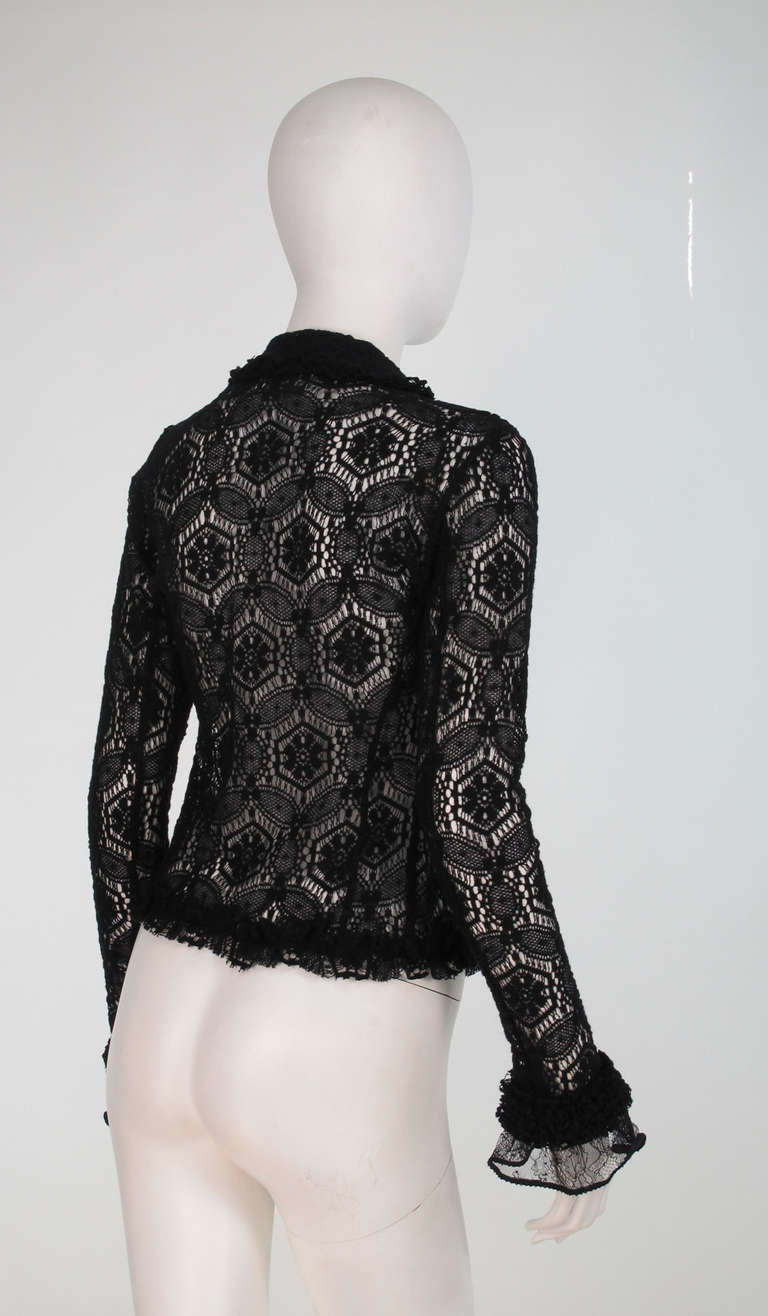 04A Chanel black lacy wool sweater For Sale 2