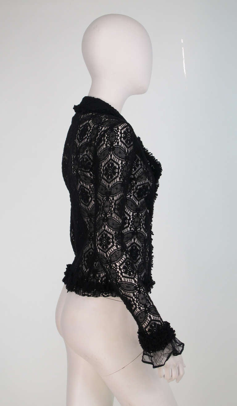 04A Chanel black lacy wool sweater 8