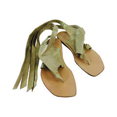 Henry Beguelin gold soft leather ankle wrap thong sandals 38