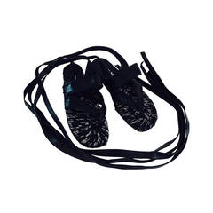 Stephane Keilan black leather & jute leg wrap espadrilles