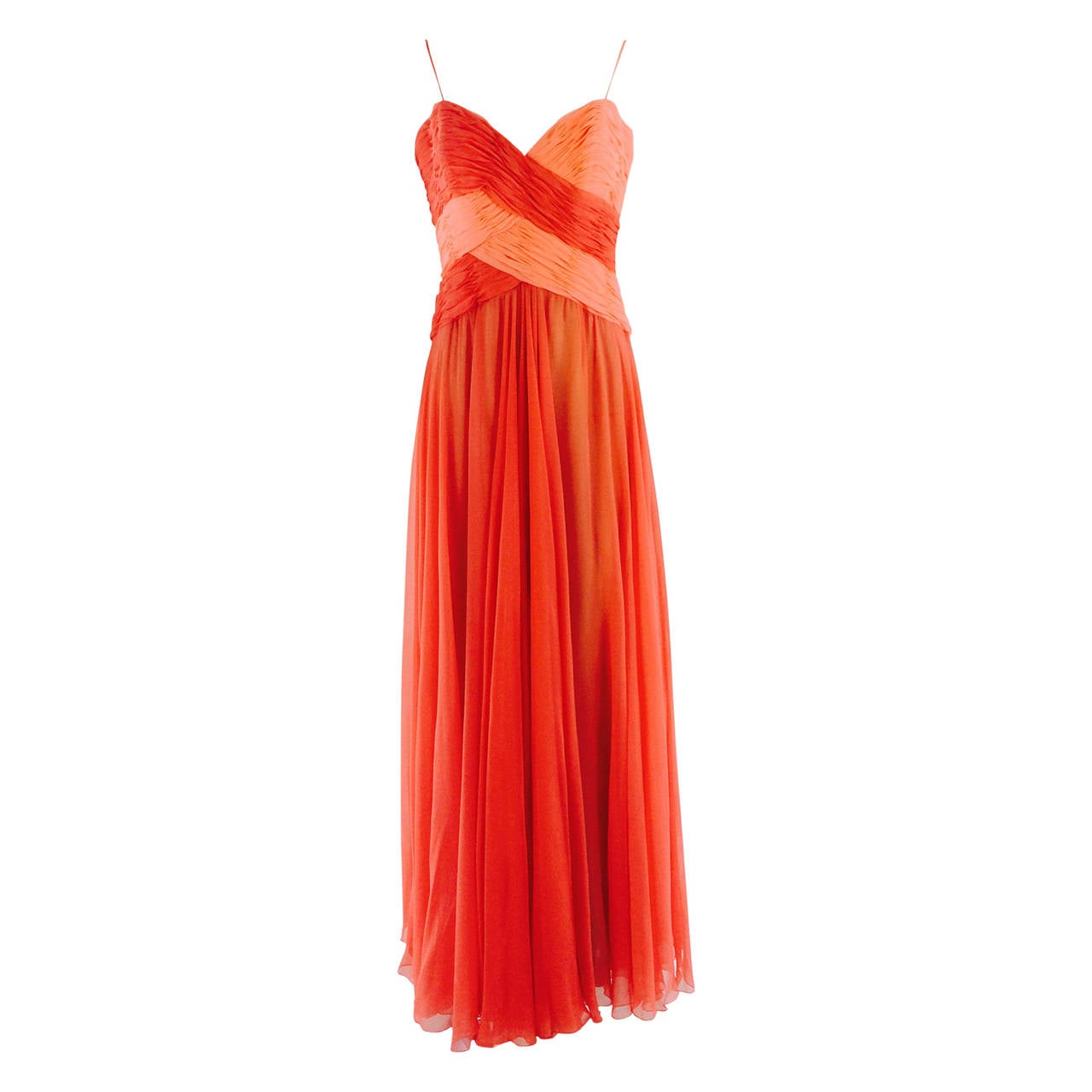 Loris Azzaro goddess gown in coral/peach silk chiffon 1970s