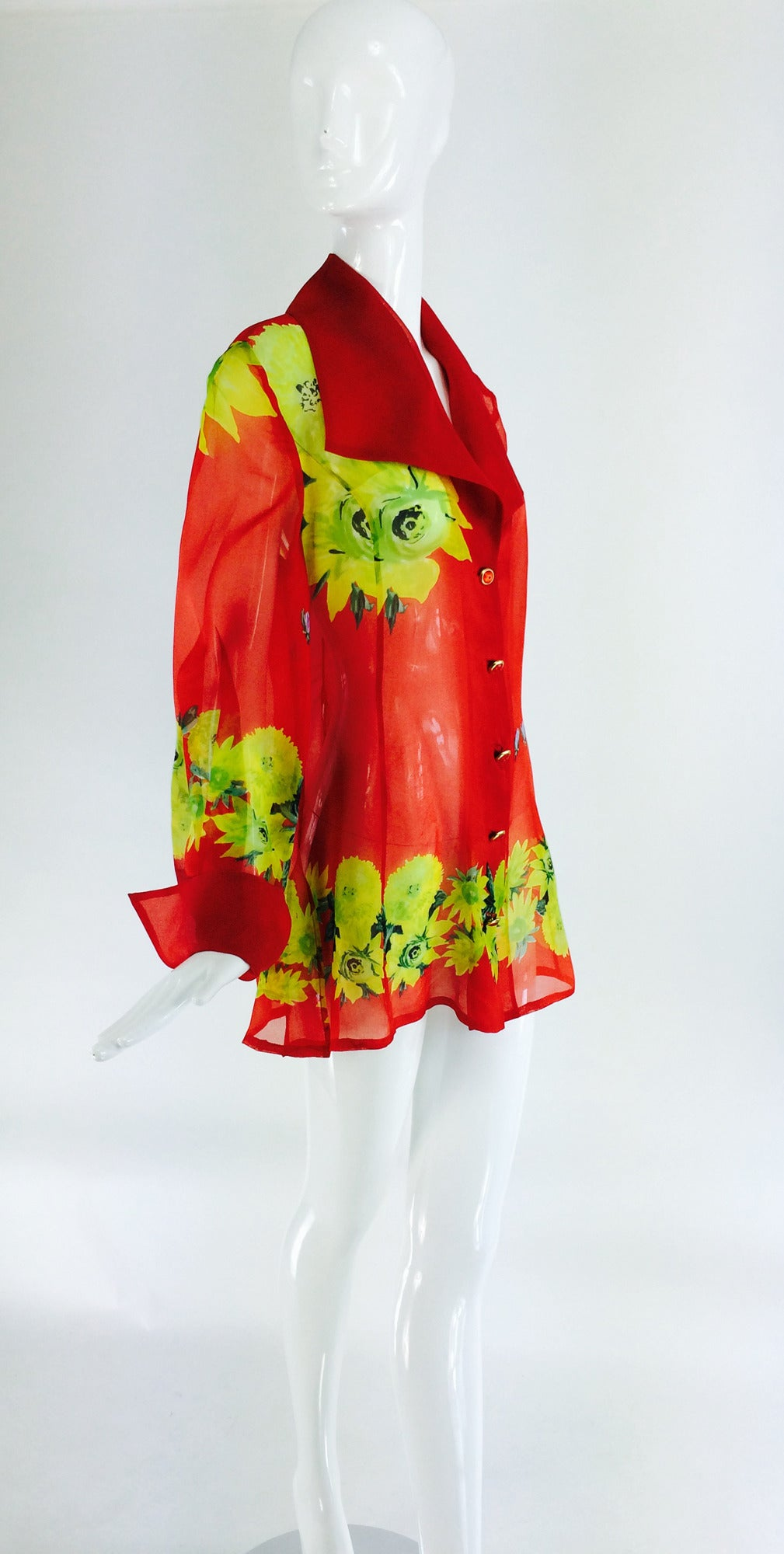 Red Christian Llinares France floral organza blouse 1980s For Sale