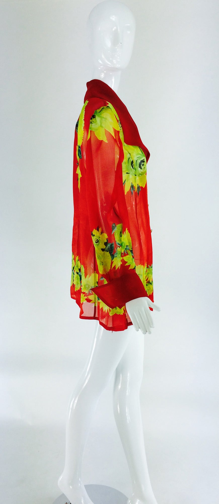 Christian Llinares France floral organza blouse 1980s In Excellent Condition For Sale In West Palm Beach, FL