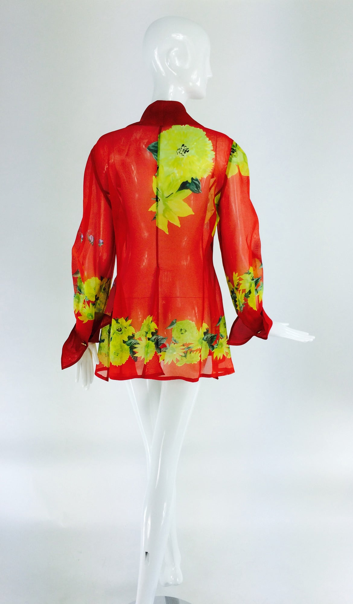 Women's Christian Llinares France floral organza blouse 1980s For Sale