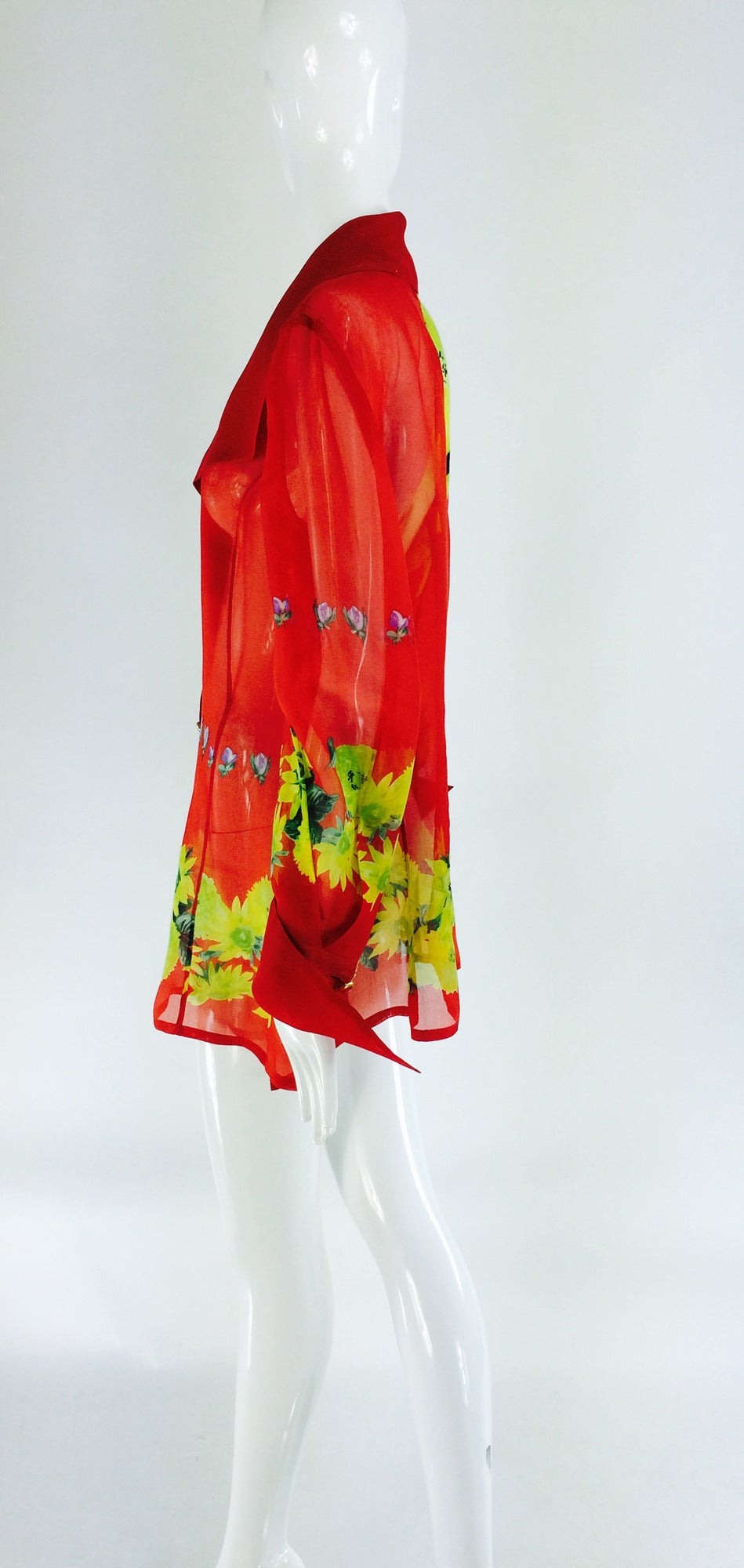 Christian Llinares France floral organza blouse 1980s For Sale 1
