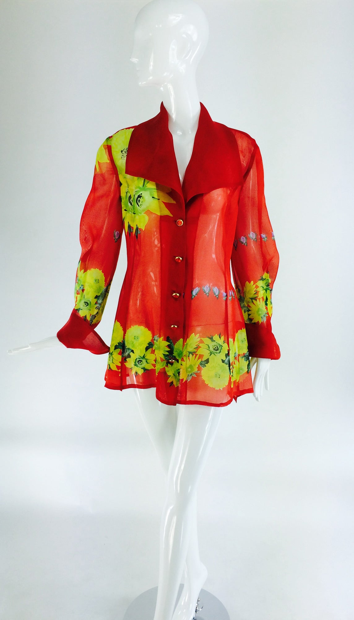 Christian Llinares France floral organza blouse 1980s For Sale 3