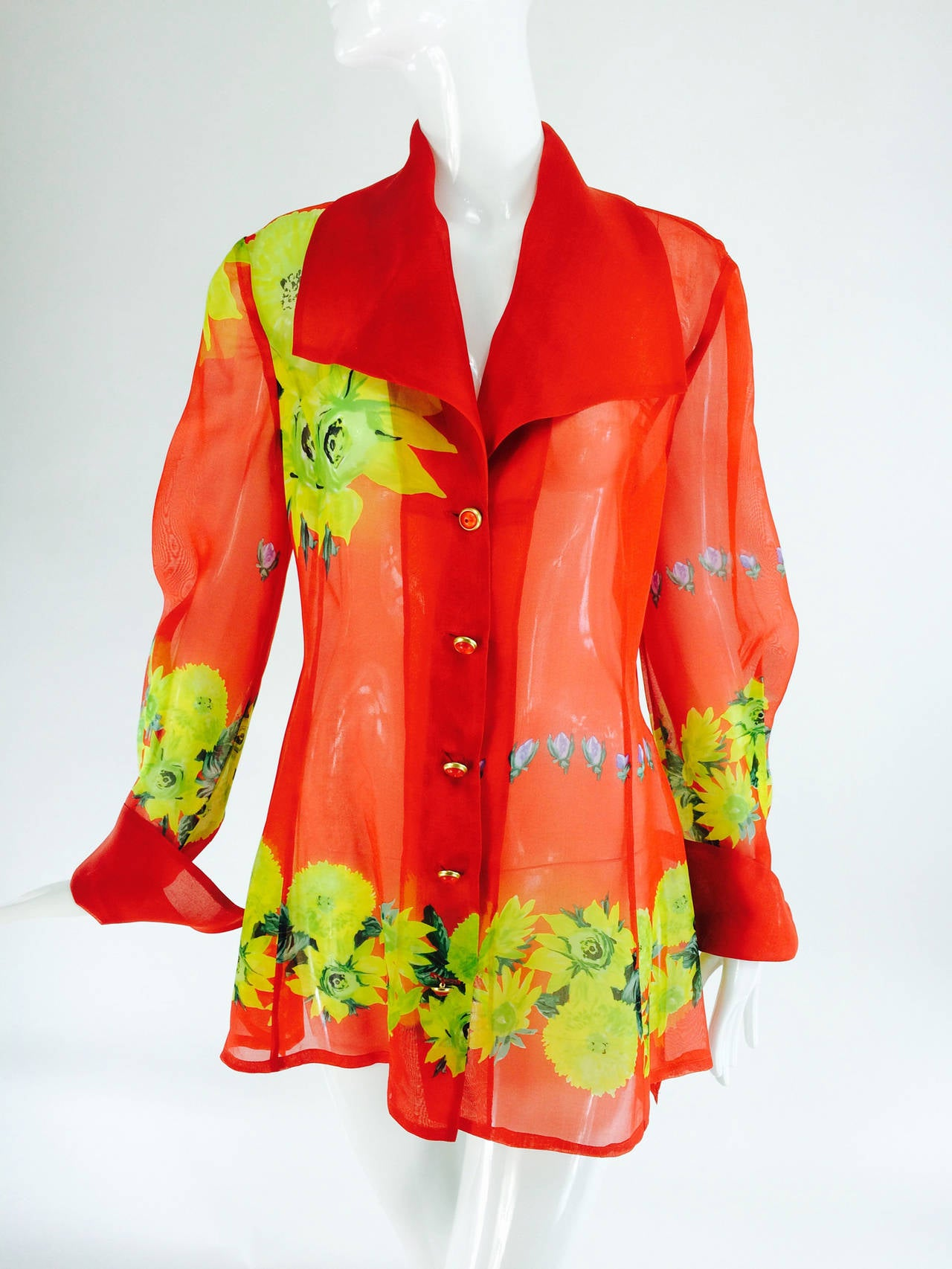 Christian Llinares France floral organza blouse 1980s For Sale 4