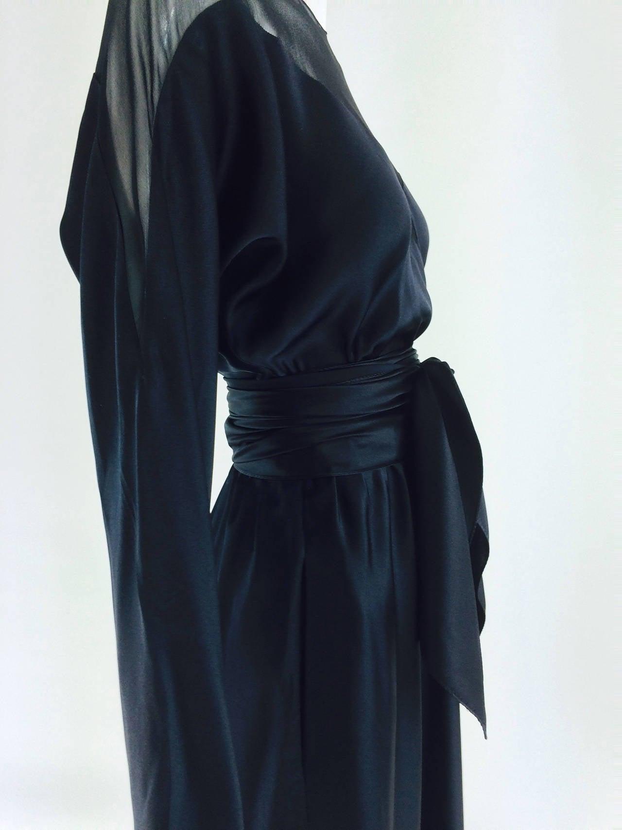 1970s Halston black silk chiffon & silk charmeuse bias cut cocktail dress For Sale 3