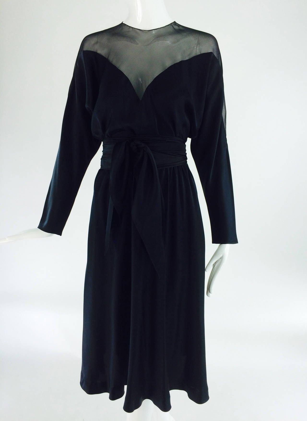 1970s Halston black silk chiffon & silk charmeuse bias cut cocktail dress For Sale 5