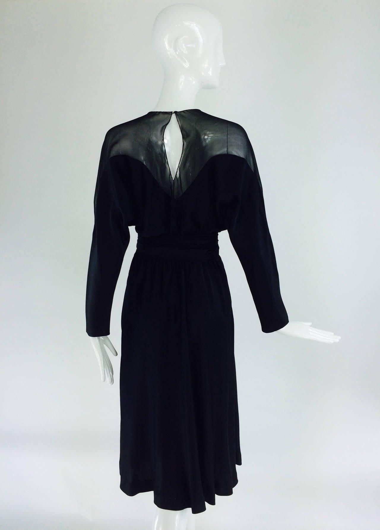 1970s Halston black silk chiffon & silk charmeuse bias cut cocktail dress For Sale 1