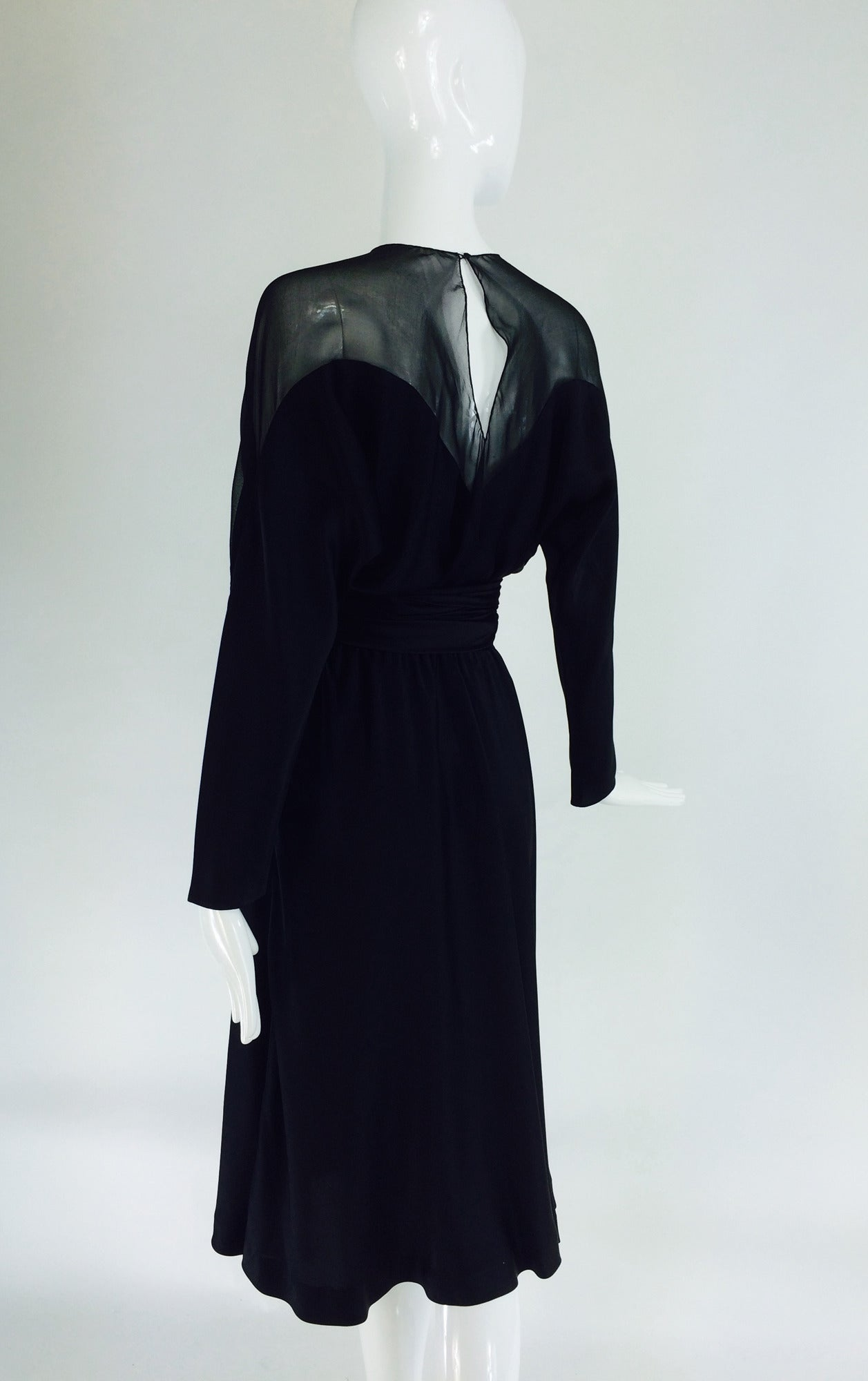 Women's 1970s Halston black silk chiffon & silk charmeuse bias cut cocktail dress For Sale