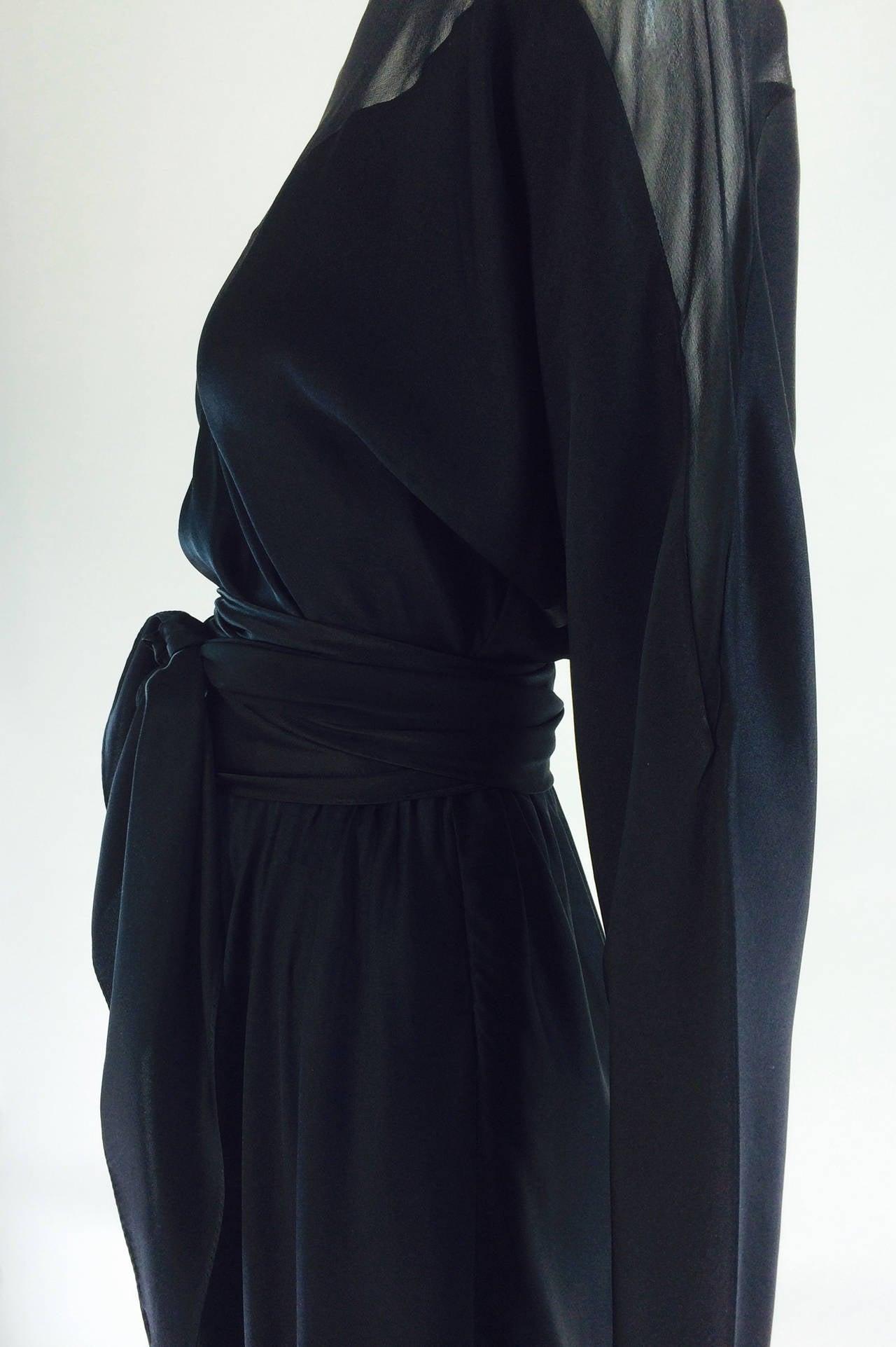 1970s Halston black silk chiffon & silk charmeuse bias cut cocktail dress For Sale 4