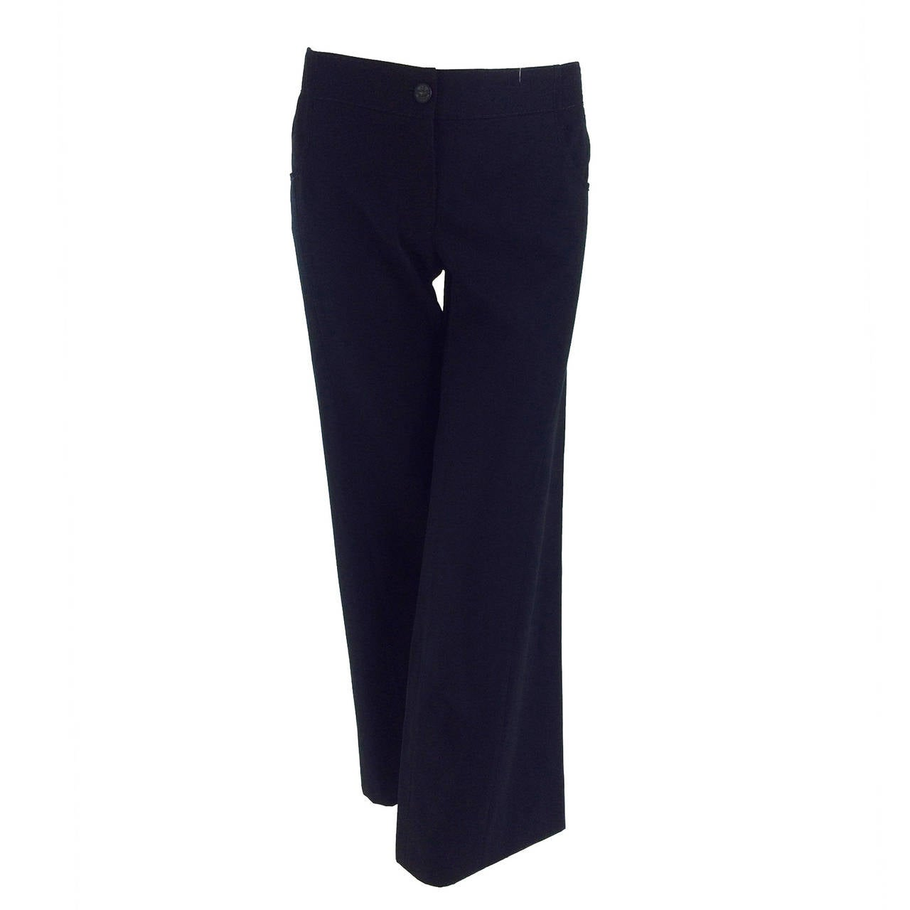 Chanel black wide leg cropped wool twill trouser 2008