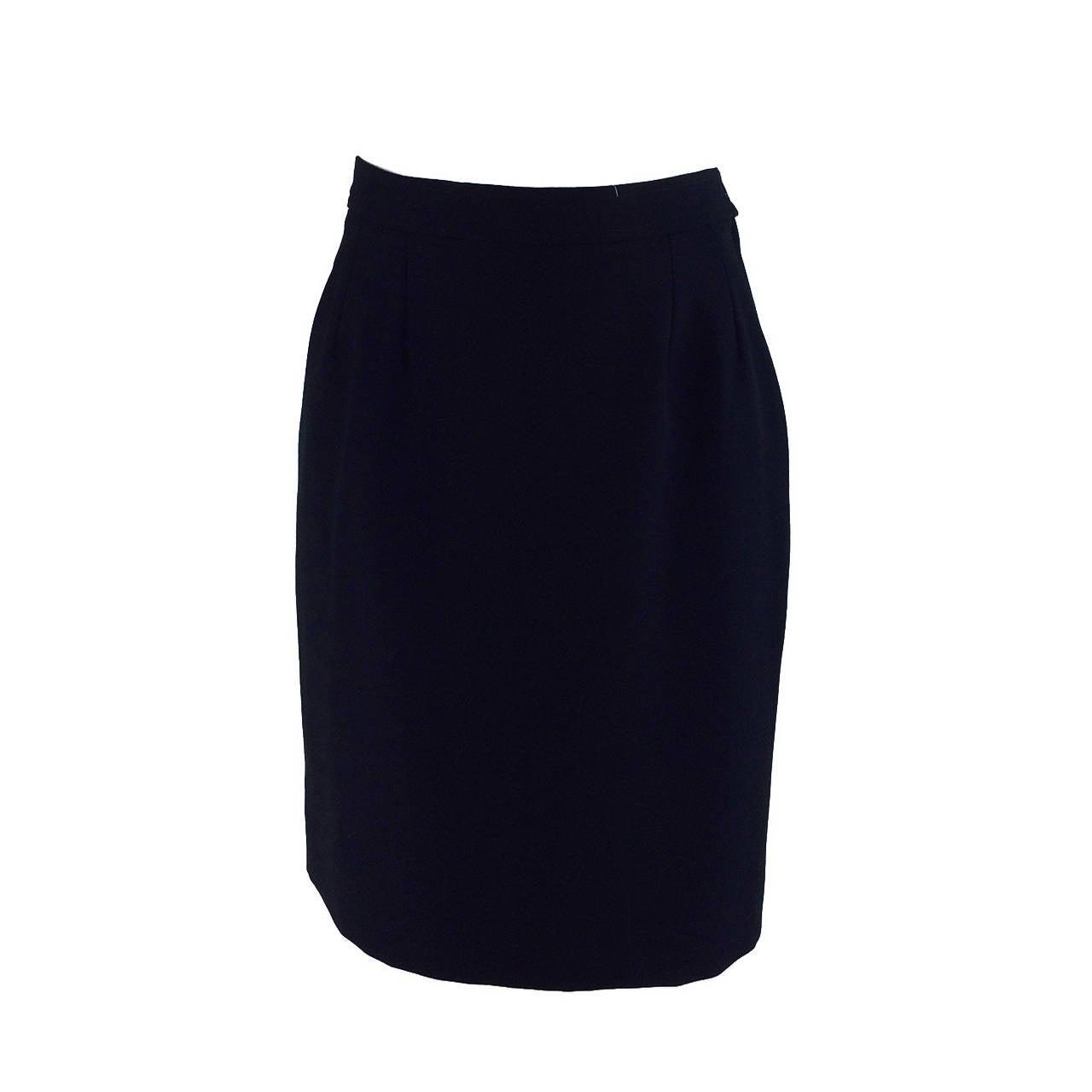 1990s Yves St Laurent black wool twill tuxedo skirt