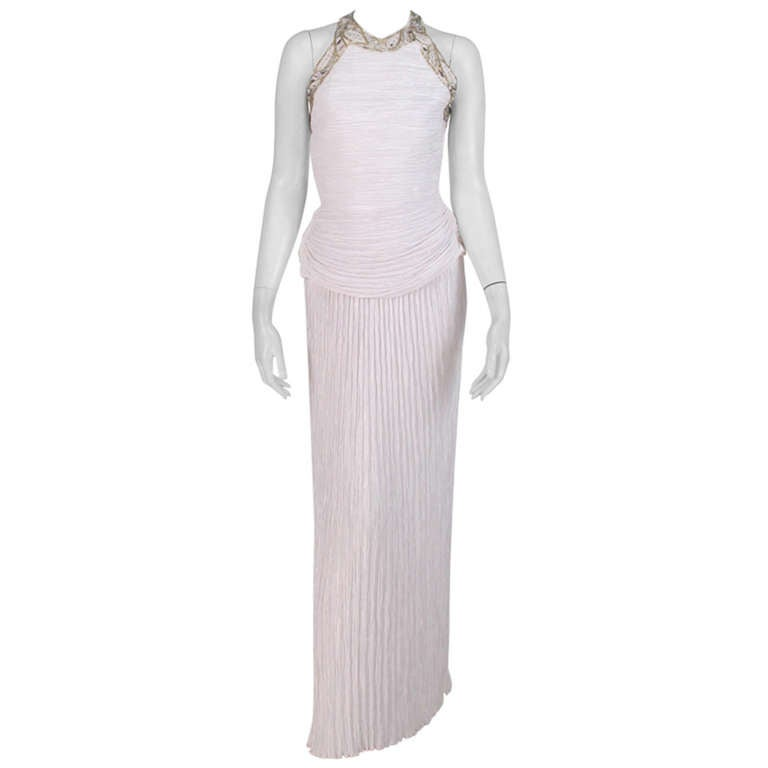 1970s Mary McFadden white halter neck beaded gown