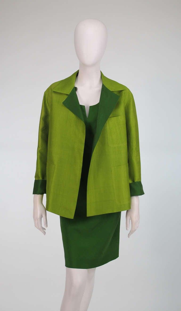 Donna Karan raw silk dress & matching reversible jacket 2