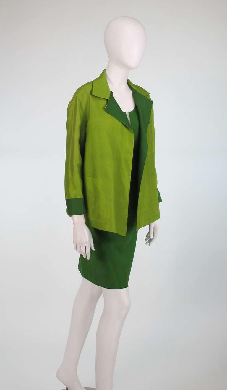 Donna Karan raw silk dress & matching reversible jacket 3