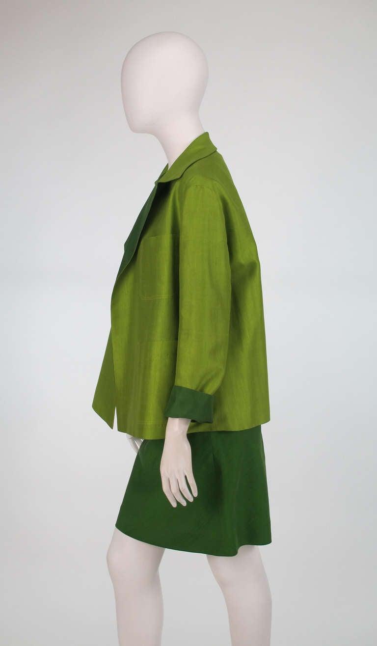 Donna Karan raw silk dress & matching reversible jacket 6