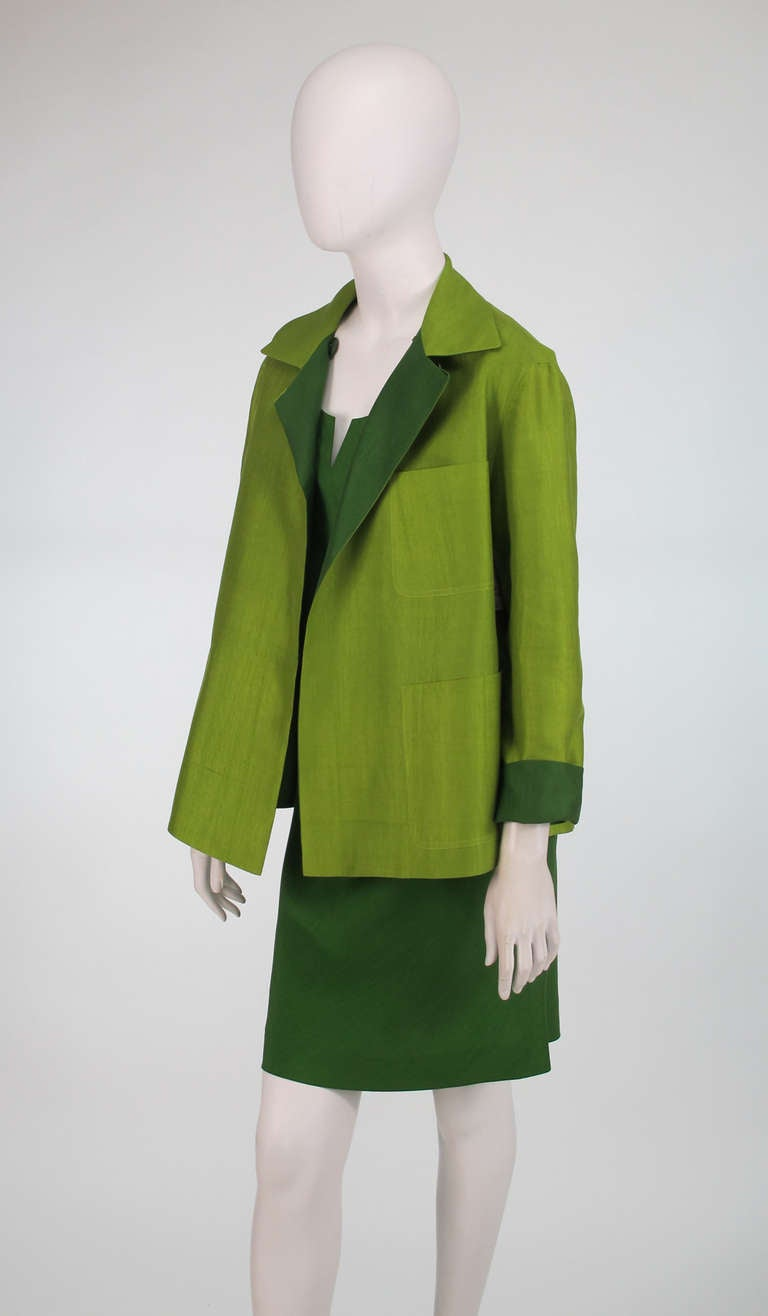 Donna Karan raw silk dress & matching reversible jacket 7