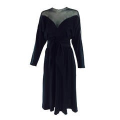 1970s Halston black silk chiffon & silk charmeuse bias cut cocktail dress