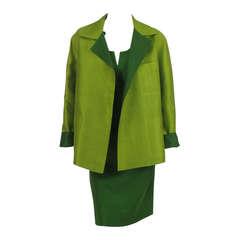 Donna Karan raw silk dress & matching reversible jacket