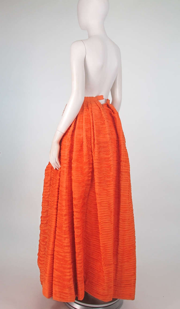 1950s Sybil Connolly Tangerine Pleated Linen Skirt For