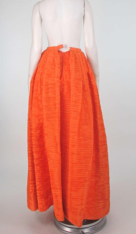 Women's 1950s Sybil Connolly tangerine pleated linen skirt For Sale