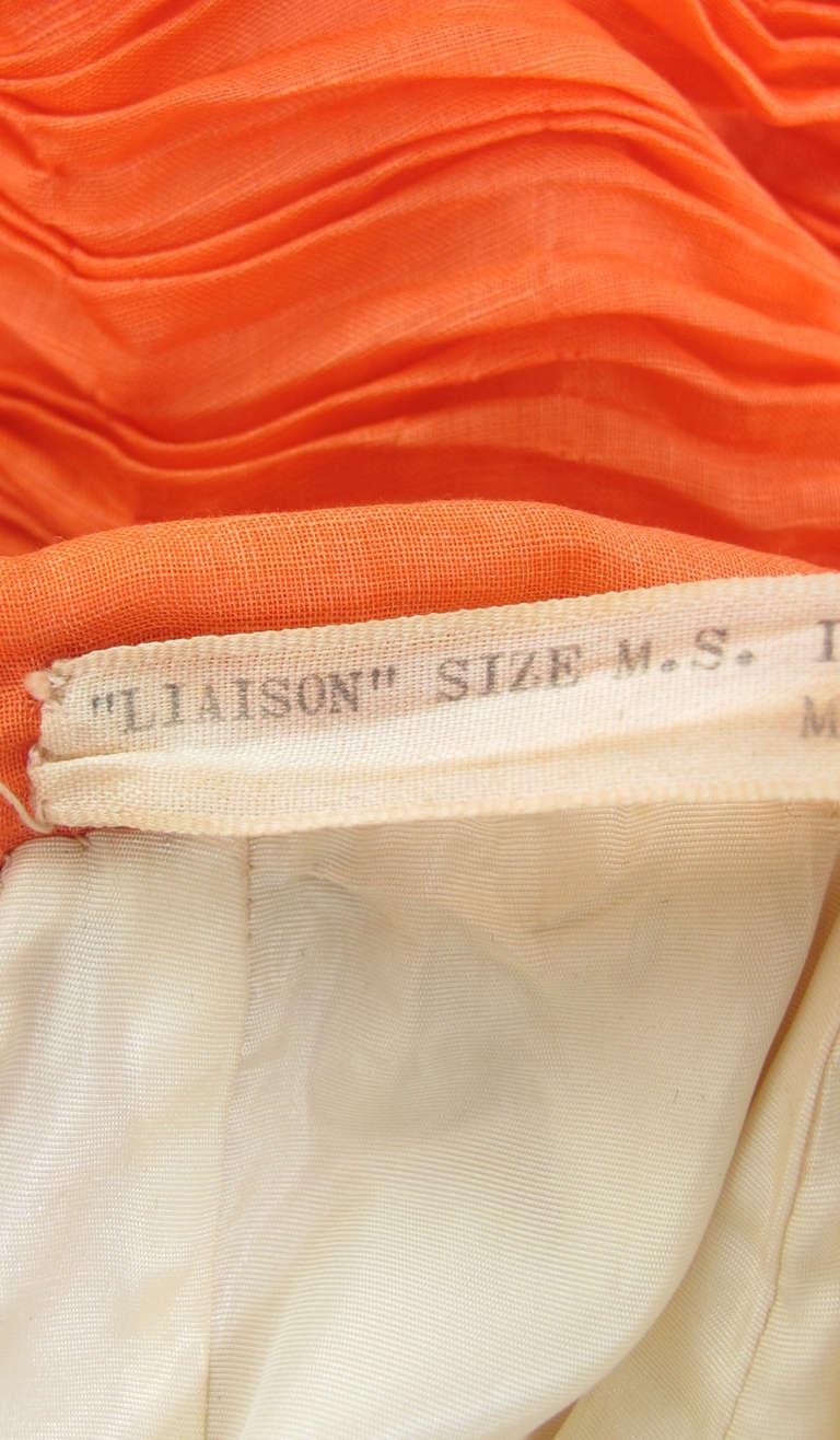 1950s Sybil Connolly tangerine pleated linen skirt For Sale 4