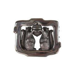 Rare vintage Barry Kieselstein-Cord sterling silver large squirrel belt buckle
