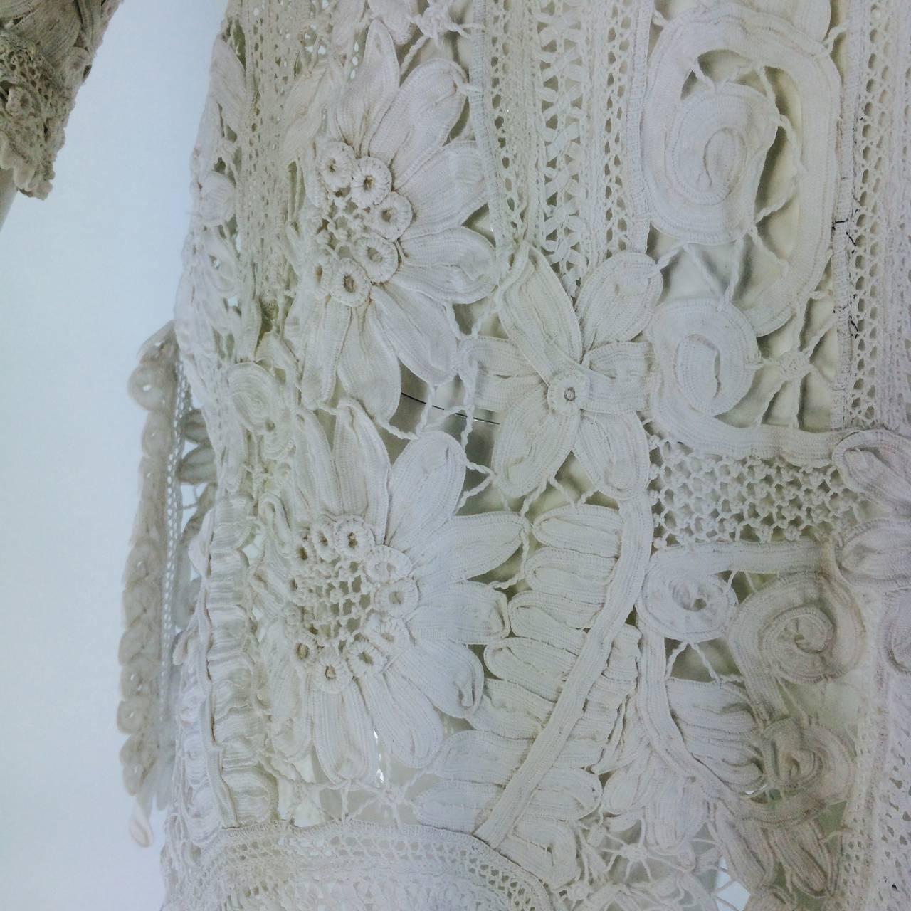 Battenburg white tape lace coat handmade Victorian 9