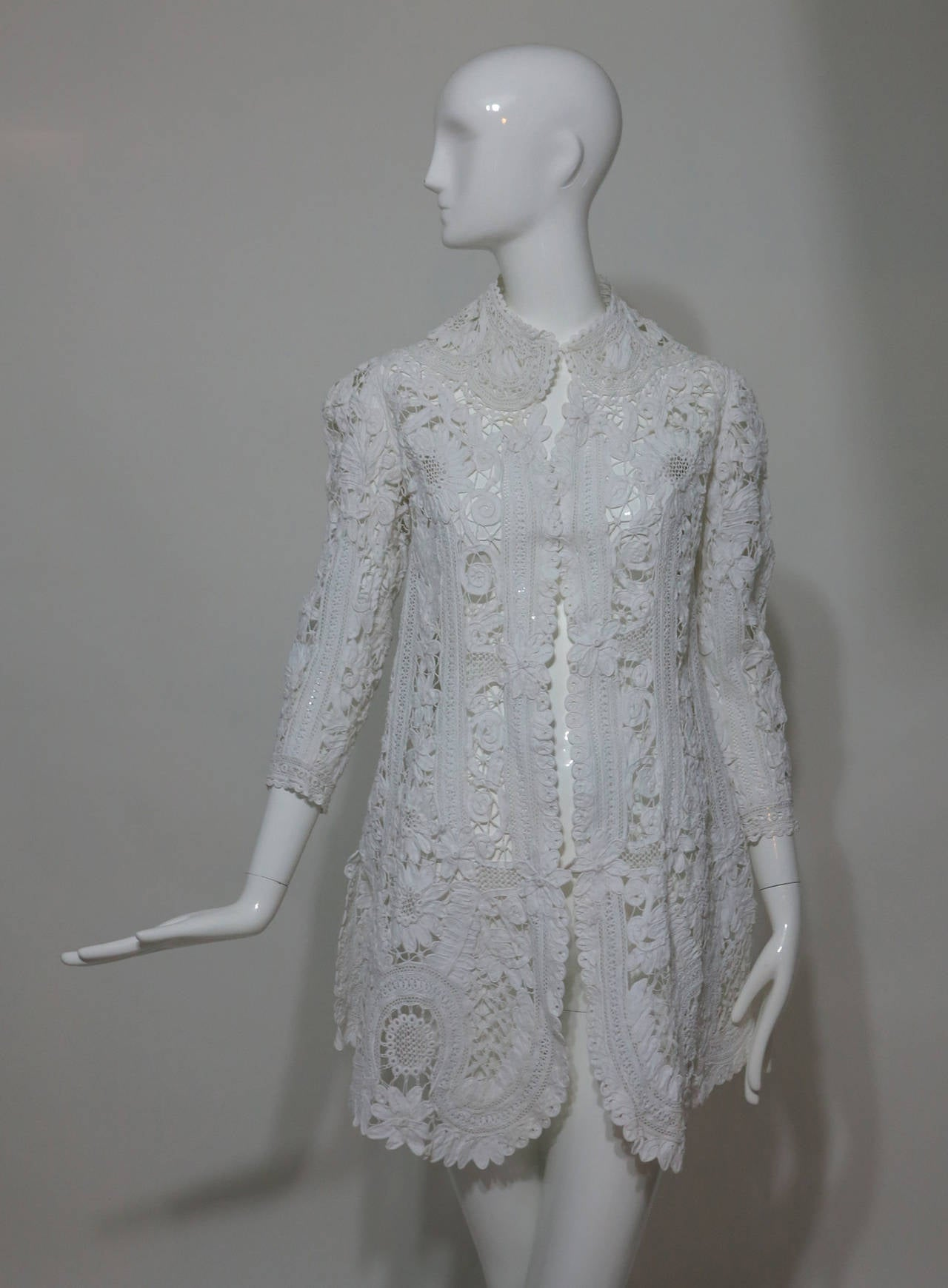 Battenburg white tape lace coat handmade Victorian For Sale 2