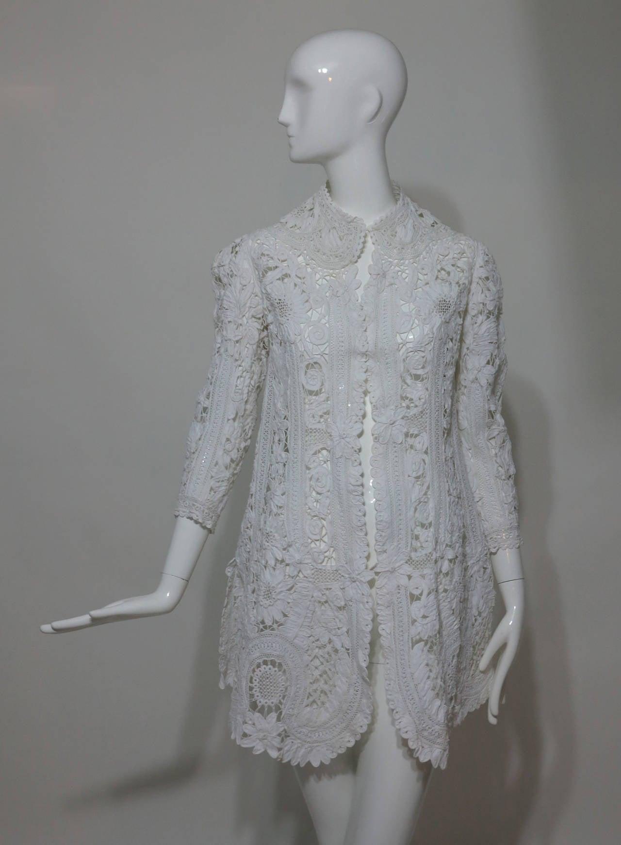 Battenburg white tape lace coat handmade Victorian 7