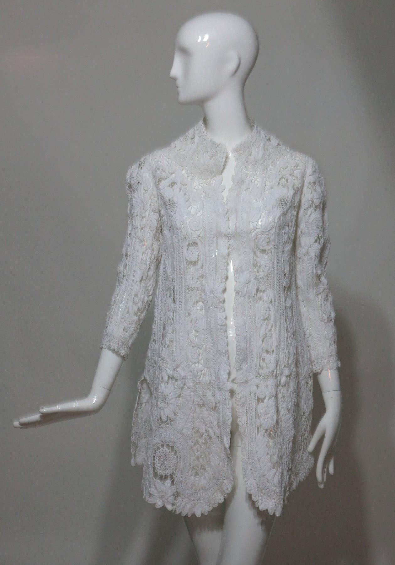 Battenburg white tape lace coat handmade Victorian 2