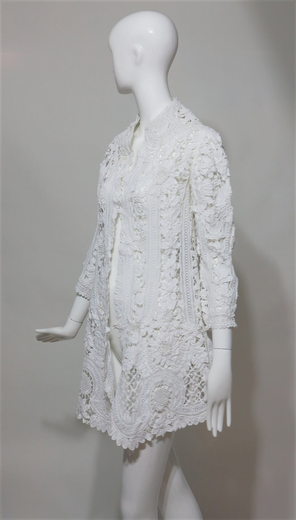 Gray Battenburg white tape lace coat handmade Victorian For Sale