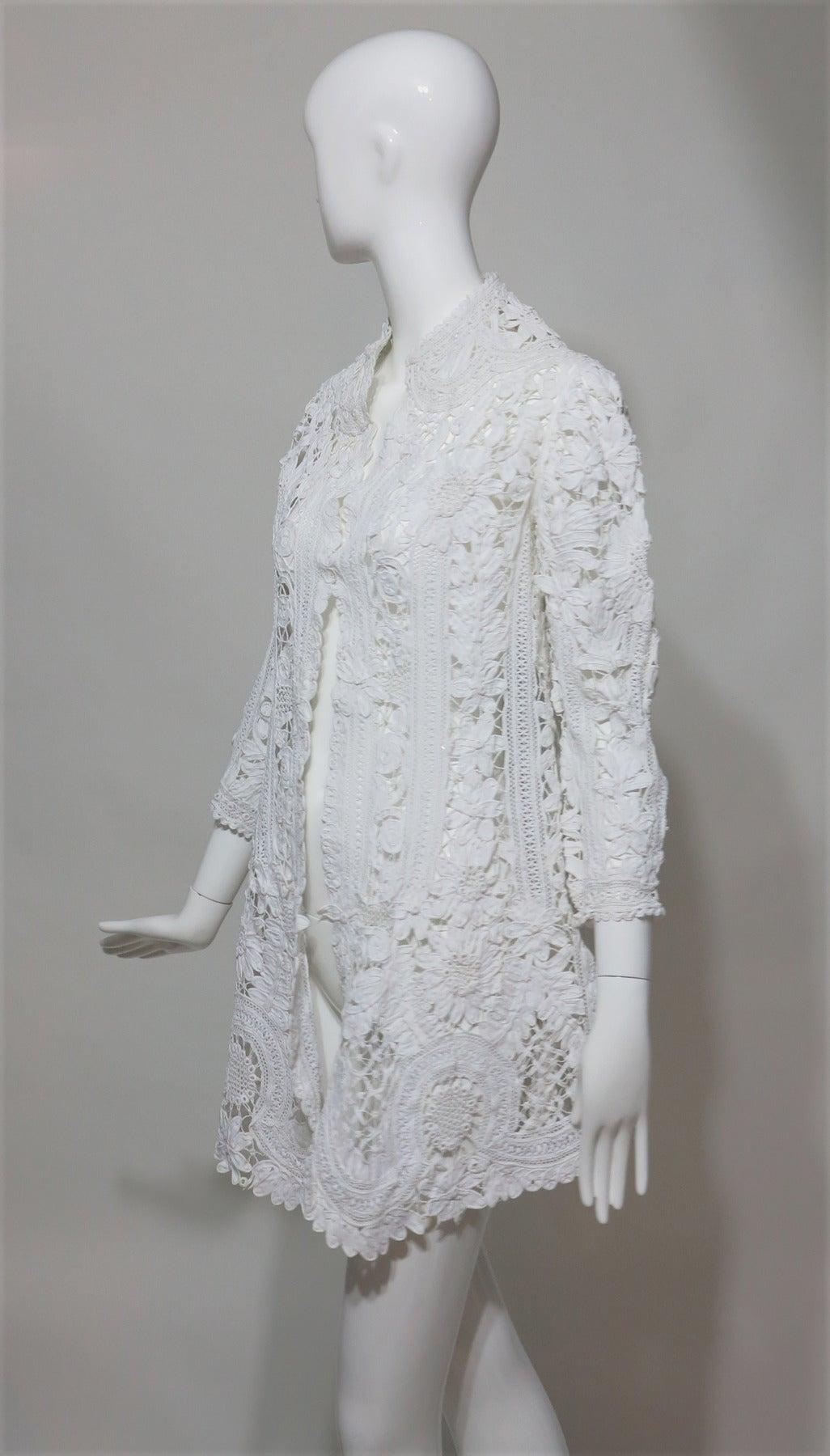 Battenburg white tape lace coat handmade Victorian 3