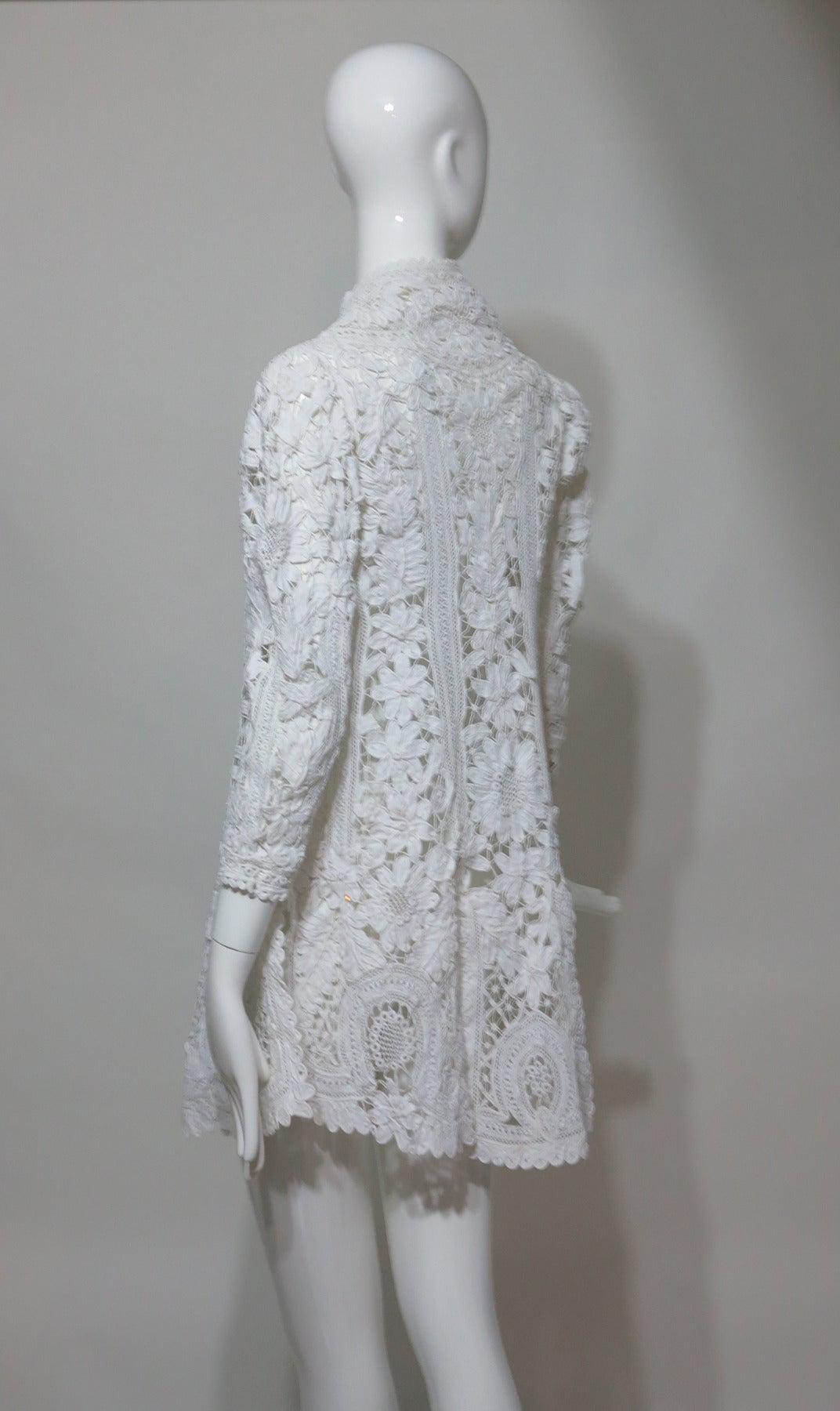 Battenburg white tape lace coat handmade Victorian 4