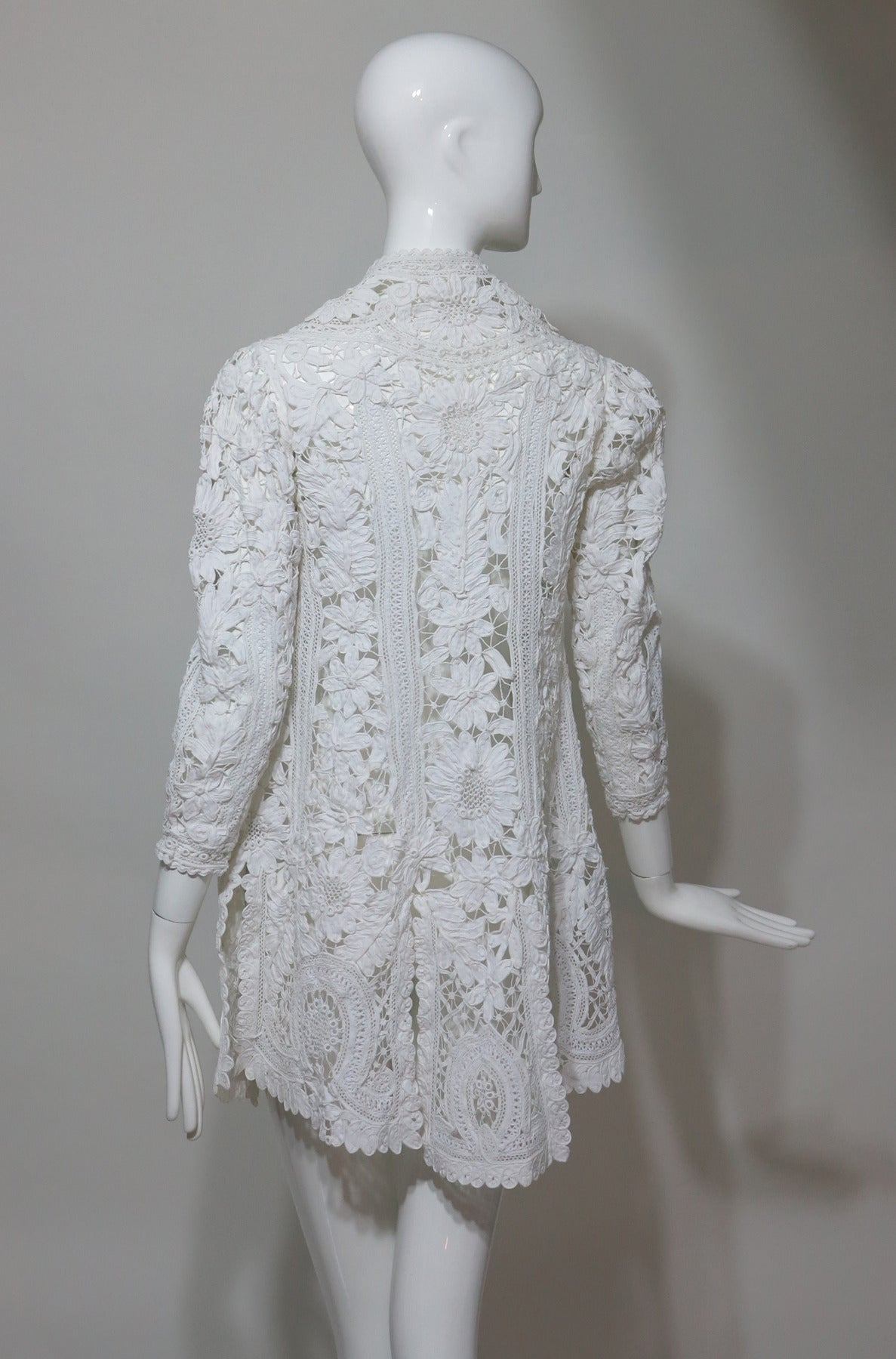 Battenburg white tape lace coat handmade Victorian 5