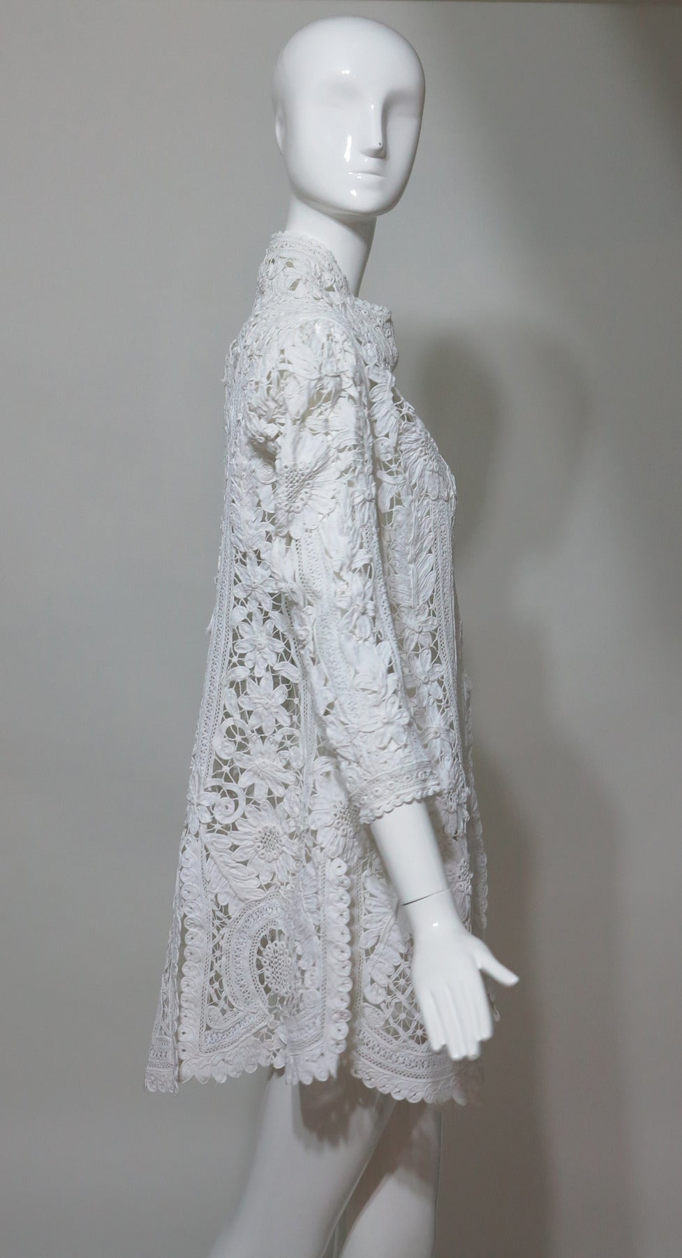 Battenburg white tape lace coat handmade Victorian For Sale 1