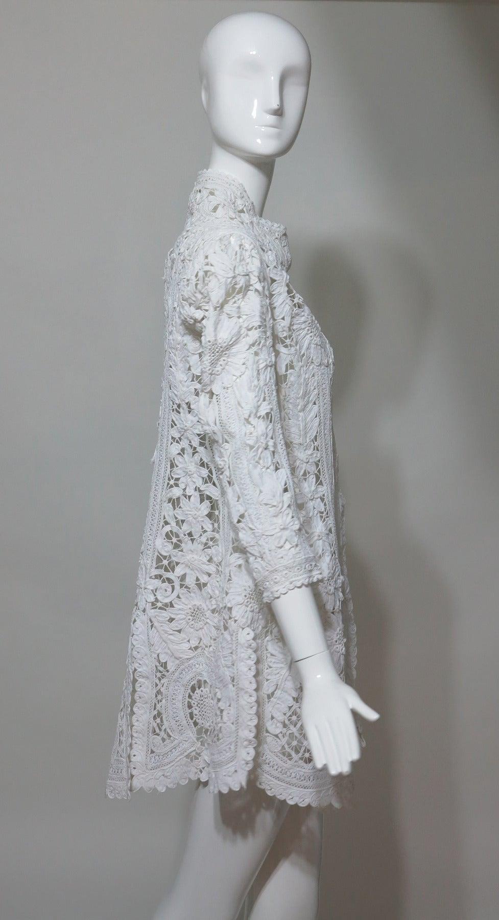 Battenburg white tape lace coat handmade Victorian 6