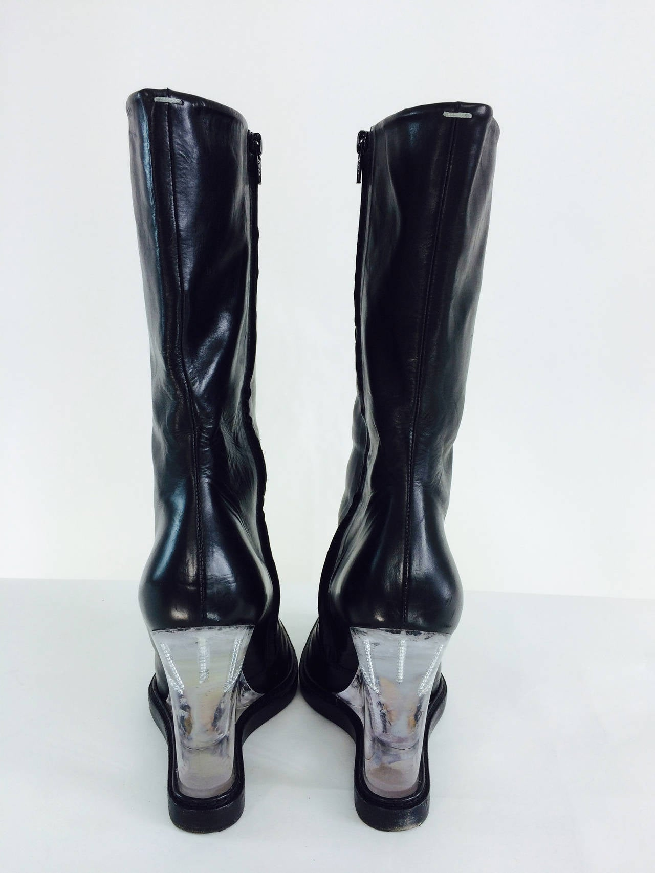 Mason Martin Margiela Plexi Heel Mid Calf Black Leather